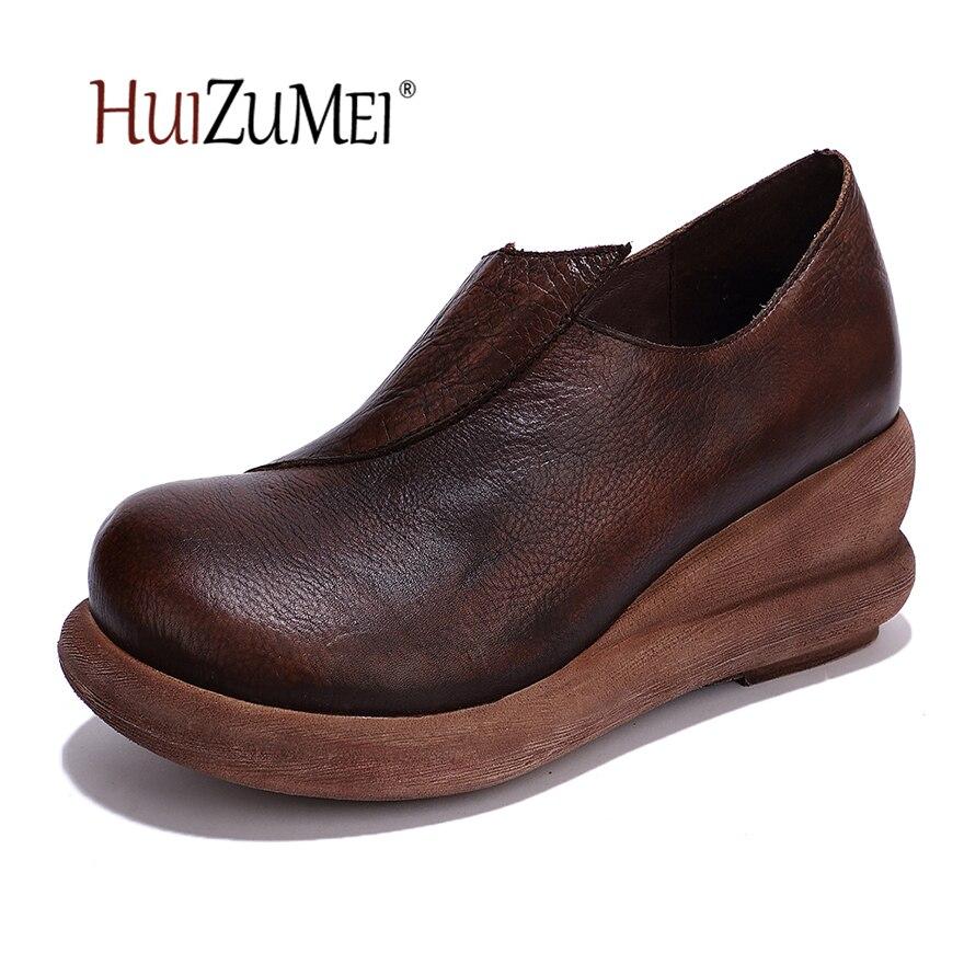 HUIZUMEI new retro pumps black heels women's shoes original casual handmade genuine leather round toe nude shoes