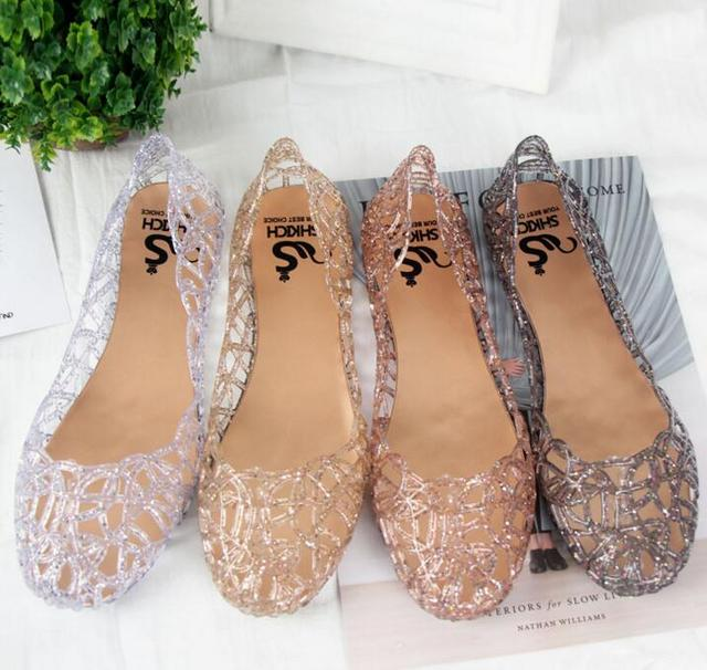 9764e2f9ea4f Women Jelly Sparkle Sandals Fretwork Crystal Flat Shoes Black   Golden    Pink   Silver Color 2018 New Arrivals