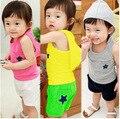 Мода Лето Корейский Капюшоном детский Костюм Футболки и Шорты с Звезды Шаблон для Мальчиков и Девочек