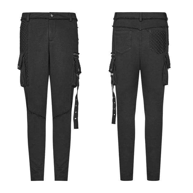 PUNK RAVE Men's Punk Rock Black Knit Trousers Gothic Military Casual Big Pocket Long Punk Cross Visual Kei Men Pants Streetwear 4