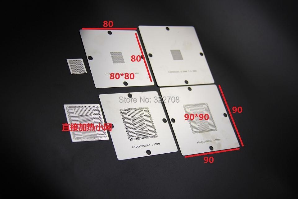 "Naujas atvykimas! ""BGA Reballing 80mm PS4 Trafaretas CXD90025G CXD90026G Bumping Network 0.55mm 0.5mm 10pcs"