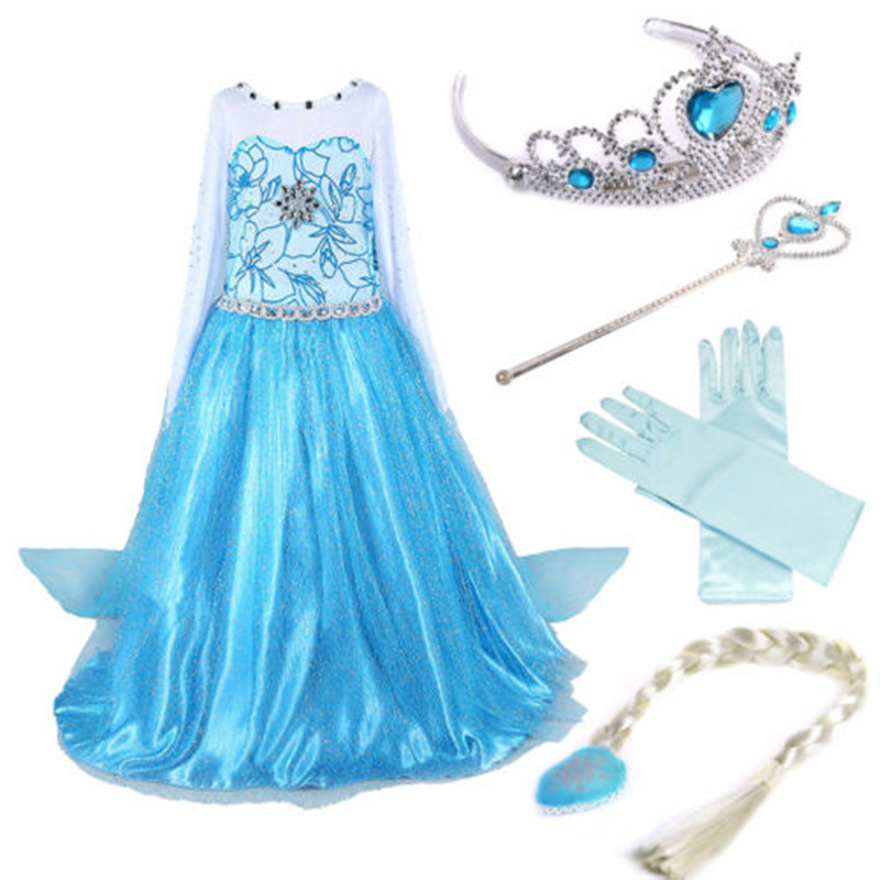 Princess Girls Dresses with Accessories Set Ice Queen Snow Queen Children Cosplay Costume with Long Train Kids Vestido ice queen