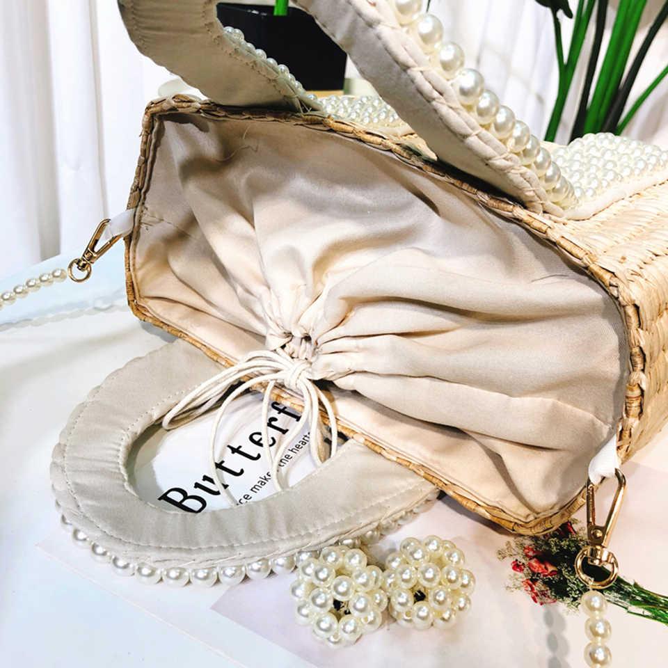 Oswego 真珠わらハンドバッグ 2019 ファッションブランドデザイナーウィービング真珠袋トートバリ休暇夏わらのための