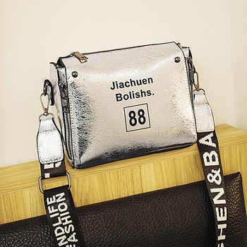 High Quality Shinning Pu Leather Female Handbag Letter Fashion Women Shoulder Messenger Bags Shell Stlye Ladies Crossbody Bags - Category 🛒 Luggage & Bags