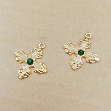 New Lady Charms 10pcs Cross Rhinestone Pearl Floating Enamel Alloy Pendant bracelet DIY Fashion Jewelry Accessories YZ331