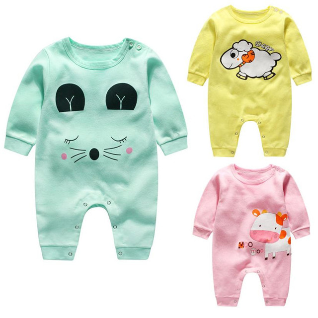 859245014df2 Cute Baby Boy Girls Cartoon Cow Rompers Long Sleeve Cotton Jumpsuit Clothes  For Newborn Girls Boys