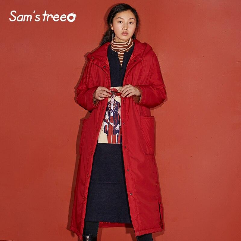 Rembourré Capuchon Couleur Black Samstree Hiver Manteaux Long Femelle Épaisses Outwear red À Vestes Femmes Solide Poche Simple H9IYD2WEe
