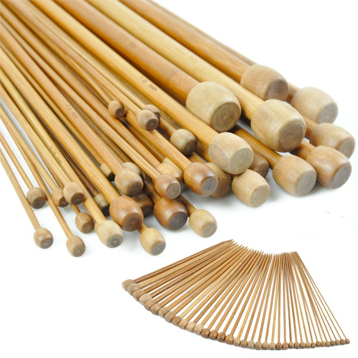 36Pcs Needles 18 Sizes 2-10mm Single Point Bamboo Knitting Needles