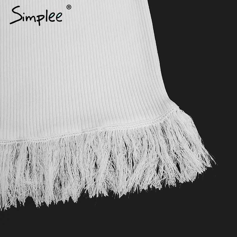 Simplee Tassel off shoulder sweater mujeres jumper manga larga dividido tejido invierno pull femme Otoño 2017 Delgado negro pullover