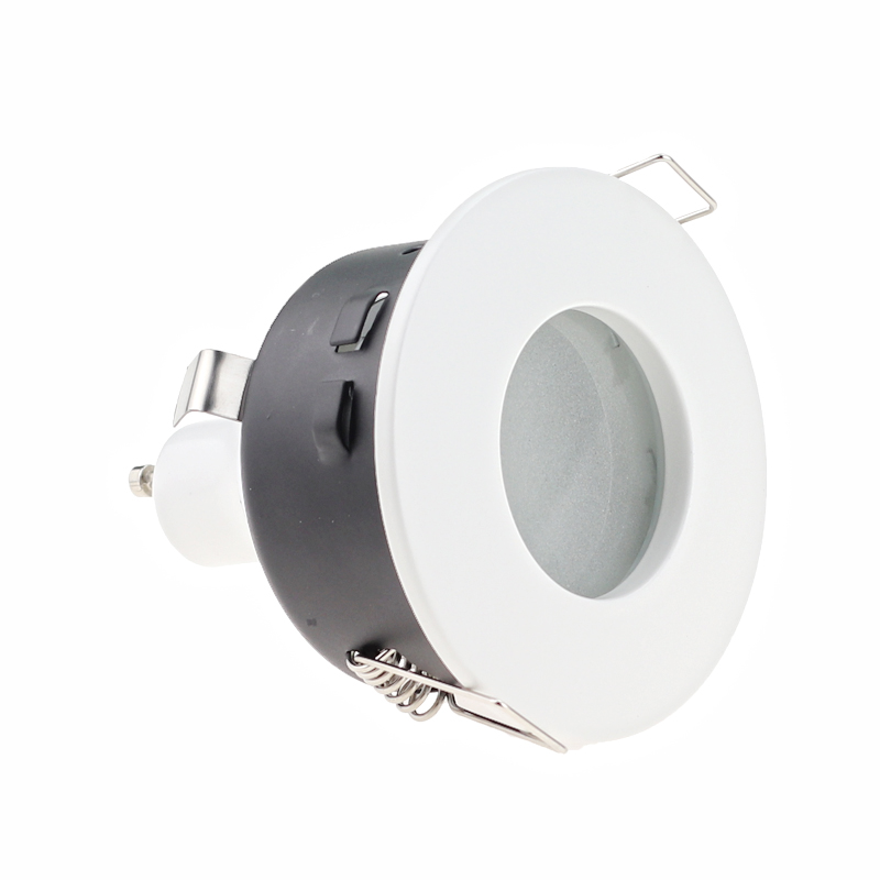 GU10 MR16 Fitting White Spot Light Shower Recessed Kit Downlight Frame Bathroom IP65 RoundGU10 MR16 Fitting White Spot Light Shower Recessed Kit Downlight Frame Bathroom IP65 Round
