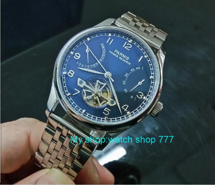 43mm PARNIS Blue dial power reserve Automatic Self-Wind Mechanical movement men's watch 316 Stainless steel watch strap zdgd28 top brand contena watch women watches rose gold bracelet watch luxury rhinestone ladies watch saat montre femme relogio feminino