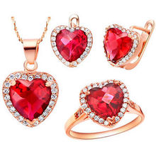 wholesal Zircon Gem Noble Rich Ladies Rose Heart of Ocean Crystal Pendant Ring Earrings Necklace Jewelry Set