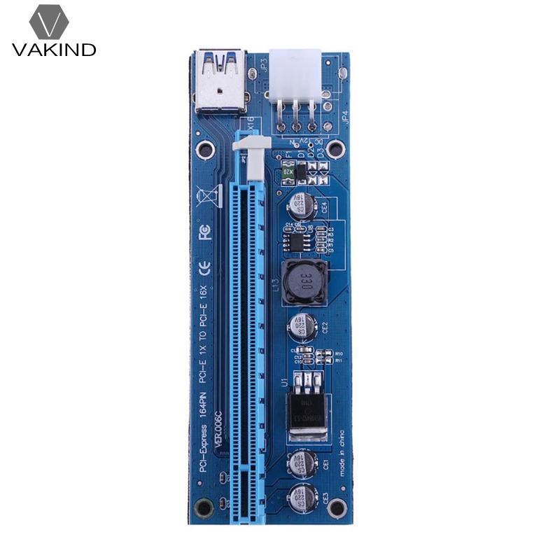 VAKIND 6Pin Power Supply PCI-E Riser Card USB 3.0 PCI Express 1x to 16x Extender Raiser Card Board Adapter for BTC Mining Miner 10pcs 006c blue 1x to 16x pci express riser card pci e extender 60cm usb 3 0 cable sata to 6pin power for btc miner raiser card