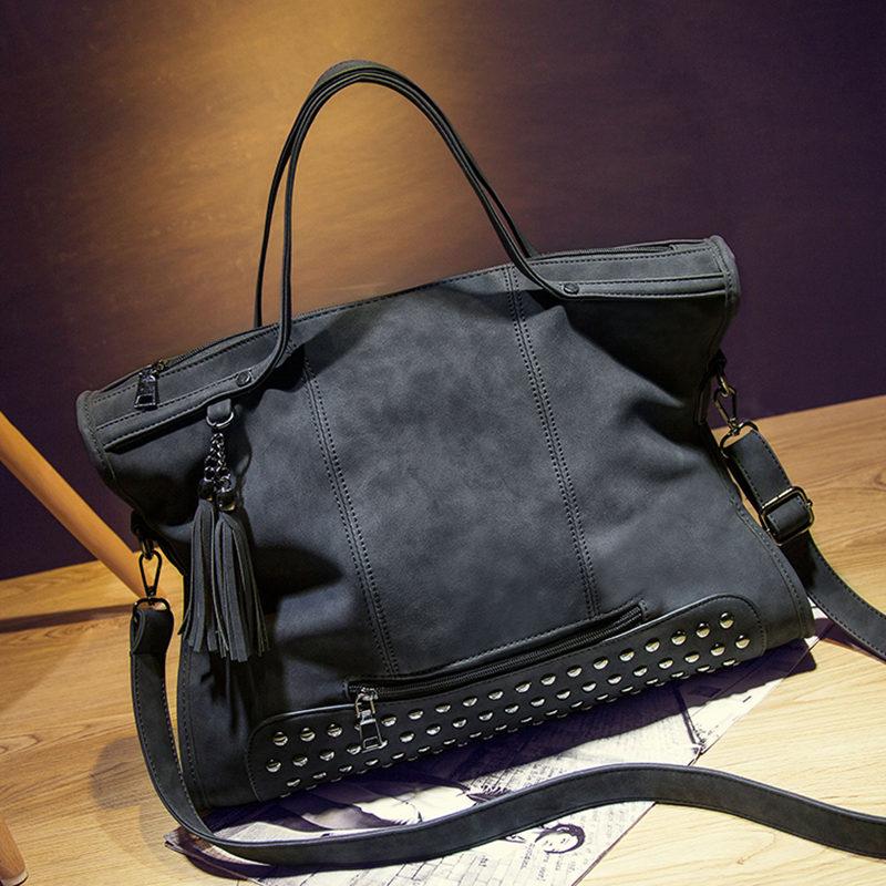 3a4335cf7e Bolish Rivet Nubuck Leather women bag Fashion Tassel Messenger Bag Vintage  Shoulder Bag Larger Top Handle Bags Mummy Package-in Shoulder Bags from  Luggage ...