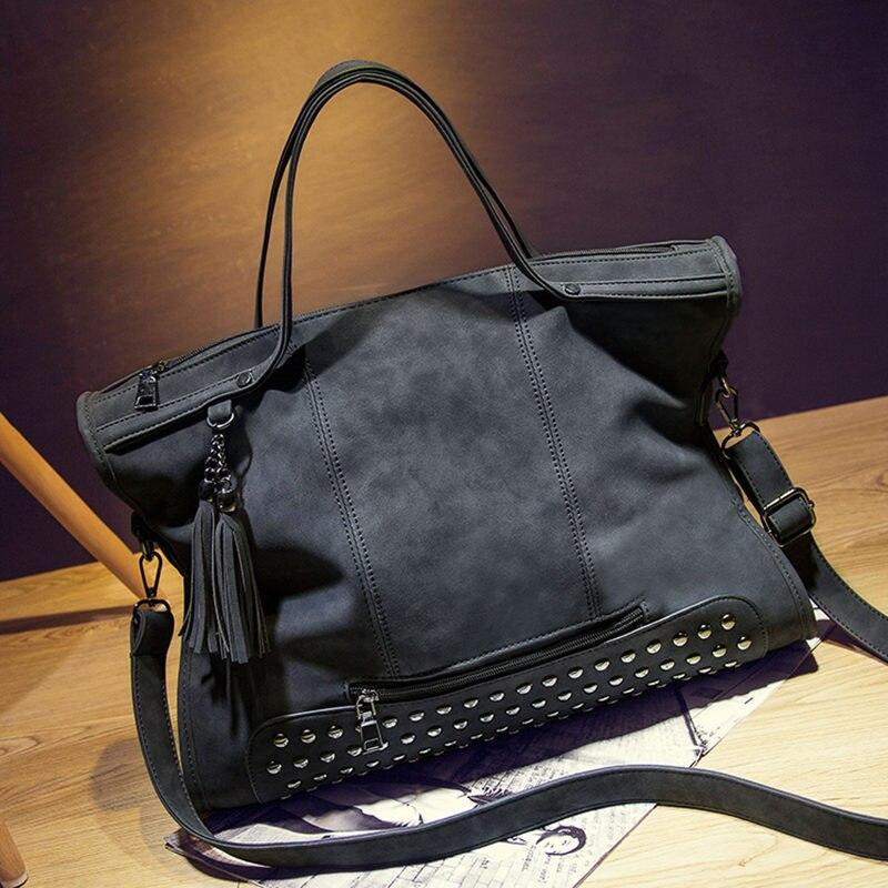 15970fe22882 Bolish Rivet Vintage PU Leather Female Handbag Fashion Tassel Messenger Bag  Women Shoulder Bag Larger Top Handle Bags Travel Bag-in Shoulder Bags from  ...