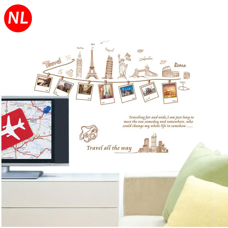 diy travel photo frames art wall stickers europe building removable living room poster vinyl bedroom decoration home decor mural - Travel Home Decor