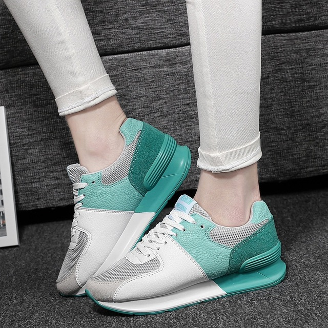 2016 new arrival students casual shoes lace-up stitching color fashion women shoes heavy-bottom sport suitable flat shoes DT434