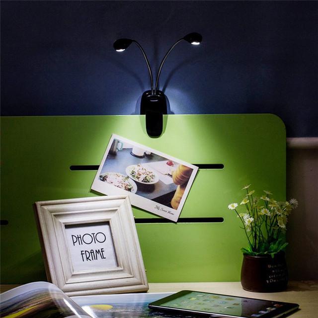 8 LED USB Double Pole LED Desk Lamp Mini Eye-care Table Lamp Dual Flexible Double Goosenecks Clip-on Arm Study&Music Desk Light