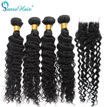 Deep Curly 4 PCS Brazilian Human Hair Weave Panse Hair Non Remy Human Hair Weaving Bundles With Closure Customized 8-28 Inches(China)