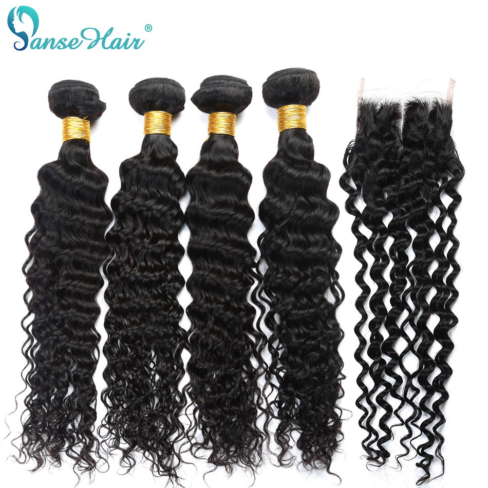 Deep Curly 4 PCS Brazilian Human Hair Weave Panse Hair Non Remy Human Hair Weaving Bundles With Closure Customized 8-28 Inches