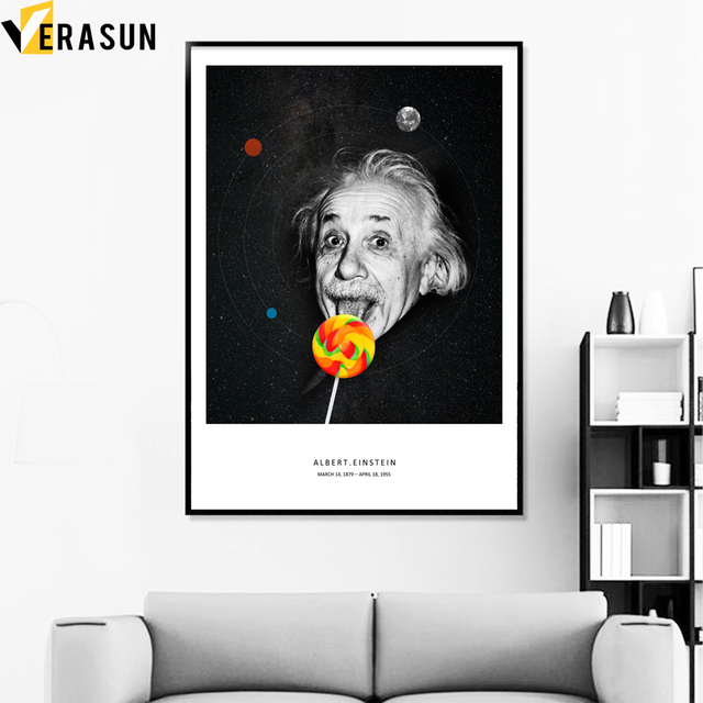 Funny Albert Einstein Lollipop Quotes Wall Art Canvas Painting ...