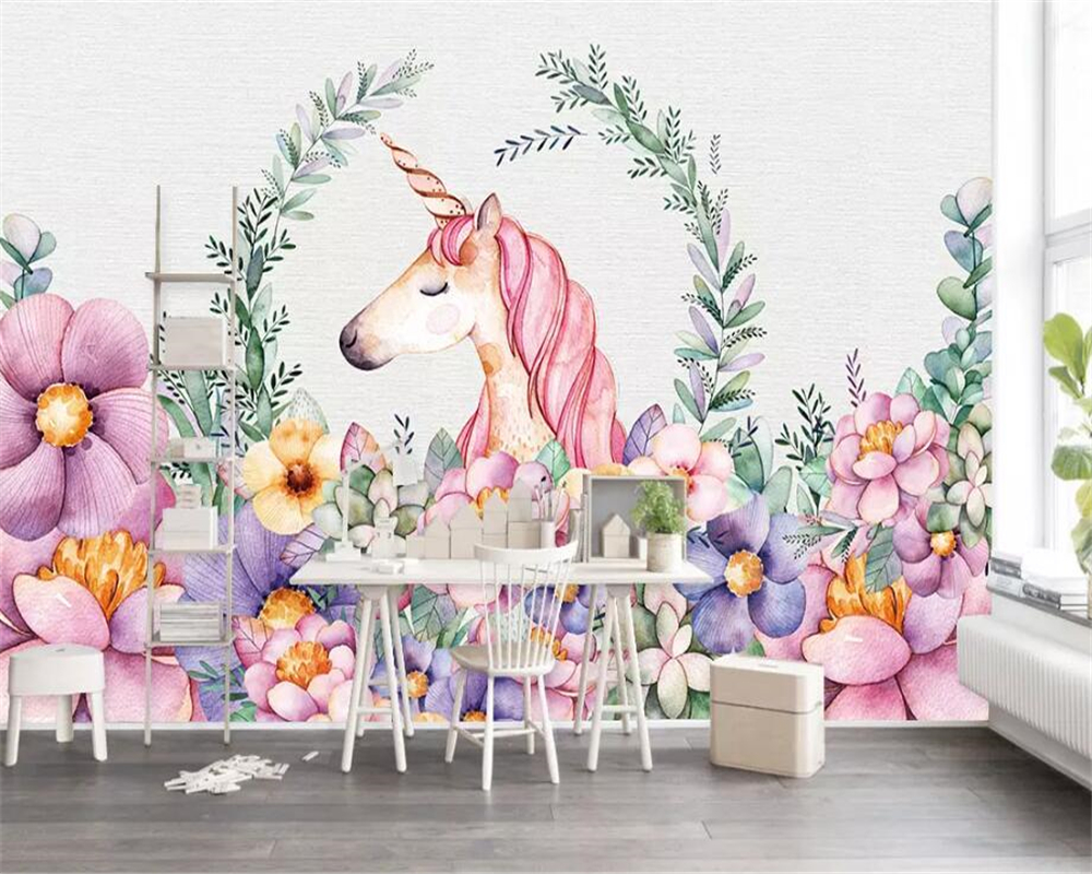 Beibehang Custom Wallpaper Unicorn Flower Children's Room Background Wall Home Decoration Background Wall Mural 3d Wallpaper