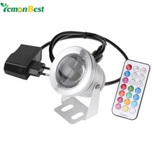 LED Underwater Lamp IP67 12 Colors 1000LM 10W RGB Fountain Light Timing Function Pool Pond Fish Tank Aquarium Spotlight EU Plug(China)