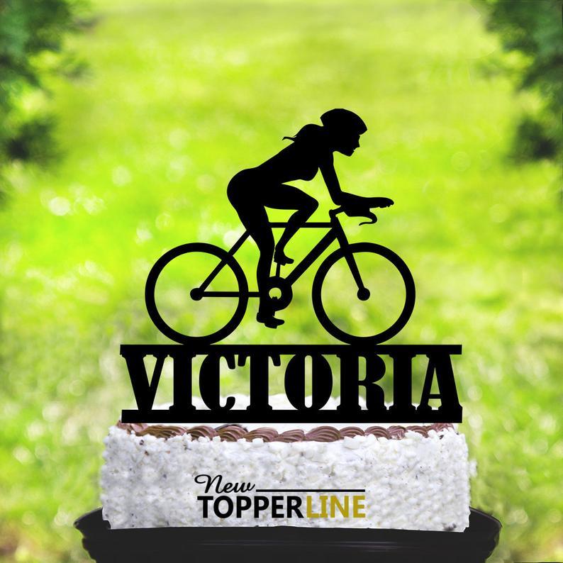 Woman Cyclist Bike Rose Gold mirror Acrylic Decoration Birthday Cake Topper.792