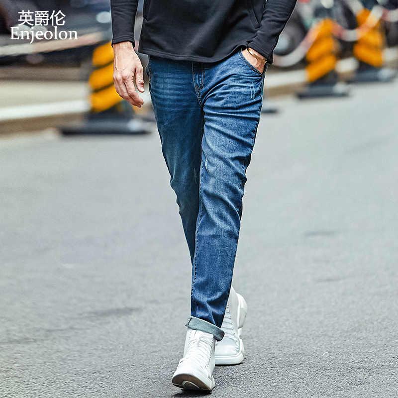 Enjeolon de los hombres de la marca de denim jeans Pantalones vaqueros pantalones de algodón, pantalones vaqueros de los hombres denim casual jeans ropa K6003