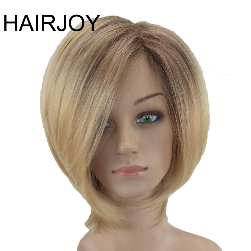 Hairjoy Women Synthetic Hair Wig Blonde Ombre Short Straight High Temperature Fiber 4 Colors Available Free