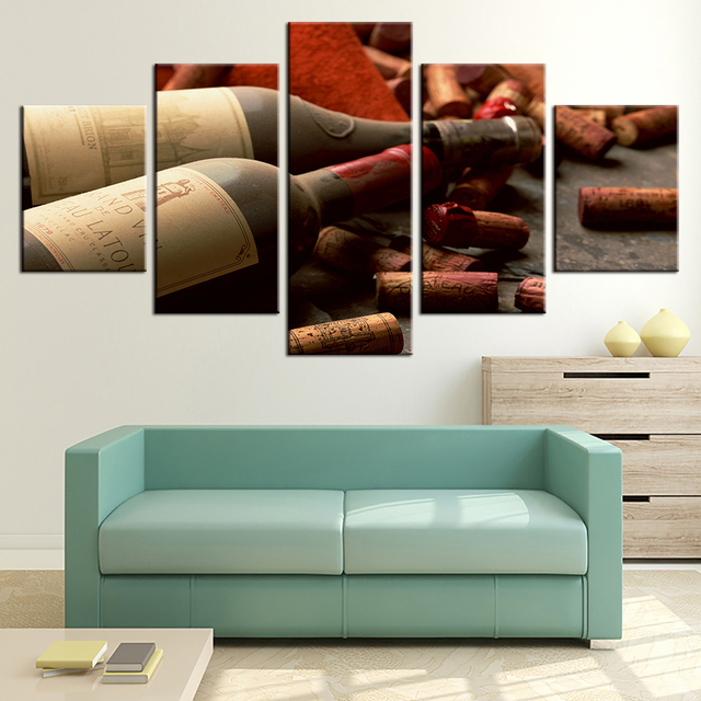 5 Panels Grape Red Wine Cork Bottle Stopper Paintings Hd Print Wall Posters Modern Home Decor Modular Picture Living Room Poster