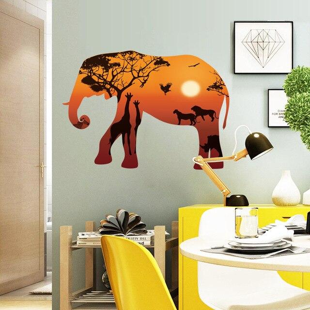 Salon Style Africain nordique style africain Éléphant silhouette mur de dessin animé