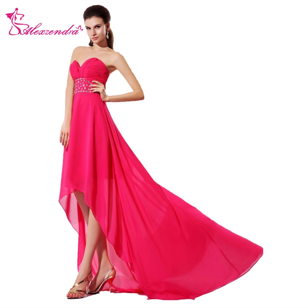 Alexzendra Hot Pink High Low   Prom     Dresses   Strapless Sweetheart Beaded Party   Dress   Evening   Dresses   Plus Size