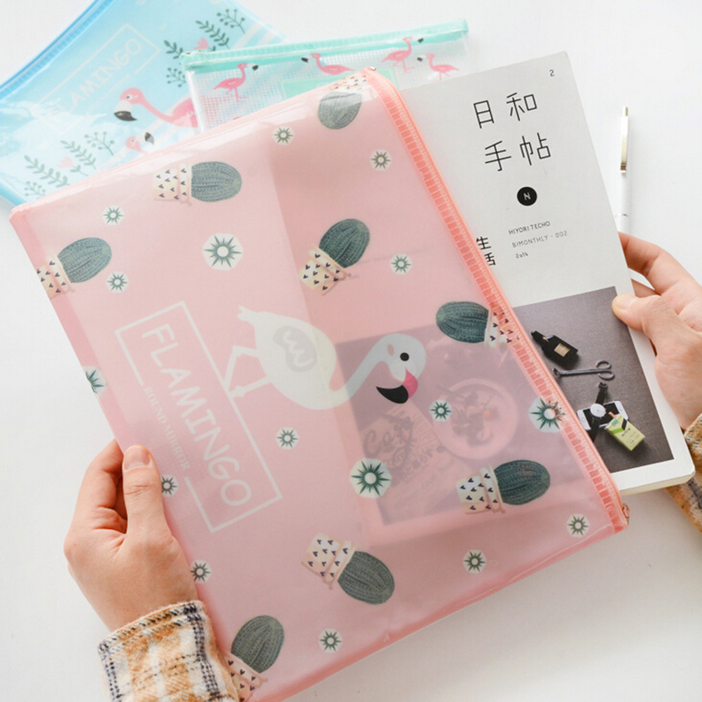 Nice Cute Flamingo Bird Green Cactus A4 File Bag Mesh Bag Document Bag PVC File Folder Stationery Filing Production