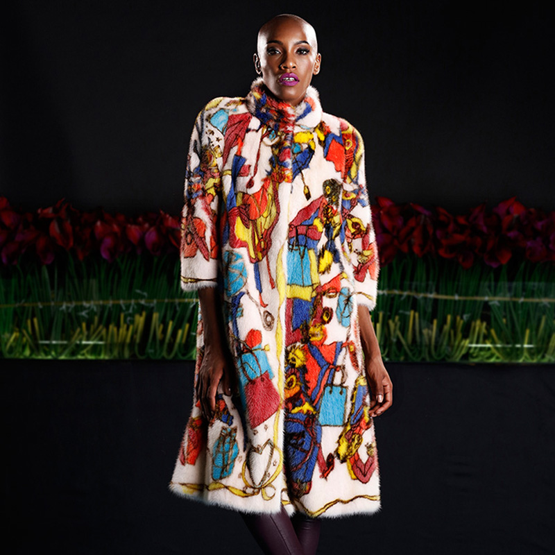 LVCHI kadının Ceket Boho Moda Kadın Soğuk Vizon Ceket Hakiki Asil - Bayan Giyimi - Fotoğraf 3