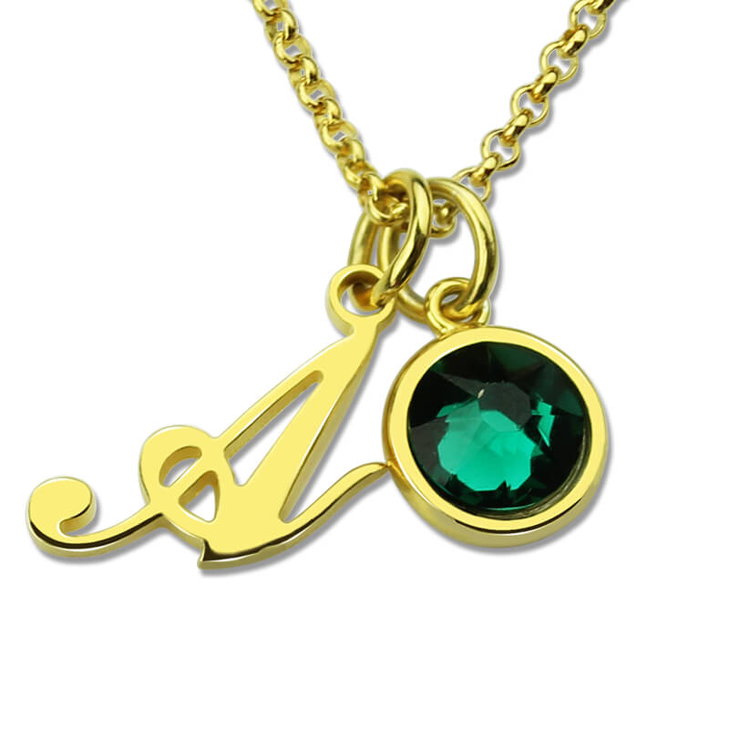 Custom letter jewelry personalized initial birthstone for Custom letter necklace gold