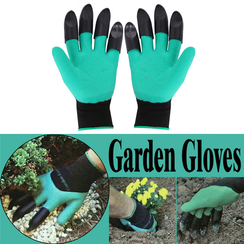 1Pair Garden Gloves Rubber Gloves With Claws Anti-tie Waterproof Mittens Digging Glove Quick Easy To Dig And Planting Protective