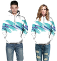 2017 Autumn Men White Hooded Hoodies 3D Blue Purple Graffiti Hoody Sweatshirts Loose Casual Sportswear Pullovers