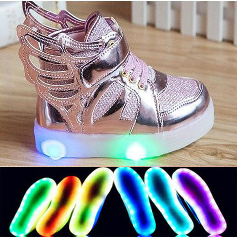 518793cc0b New 2018 European fashion Hook&Loop LED lighted wing boots children Cool  high quality cute kids sneakers Lovely girls boys shoes