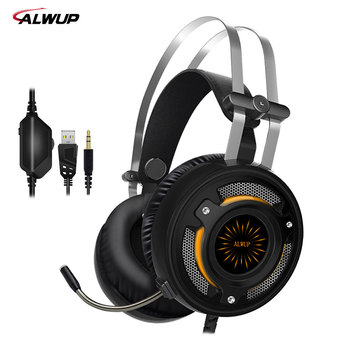 ALWUP 2.2m Wired Gaming Headphone ps4 with mic Gaming headset xbox one with 7 colors led light