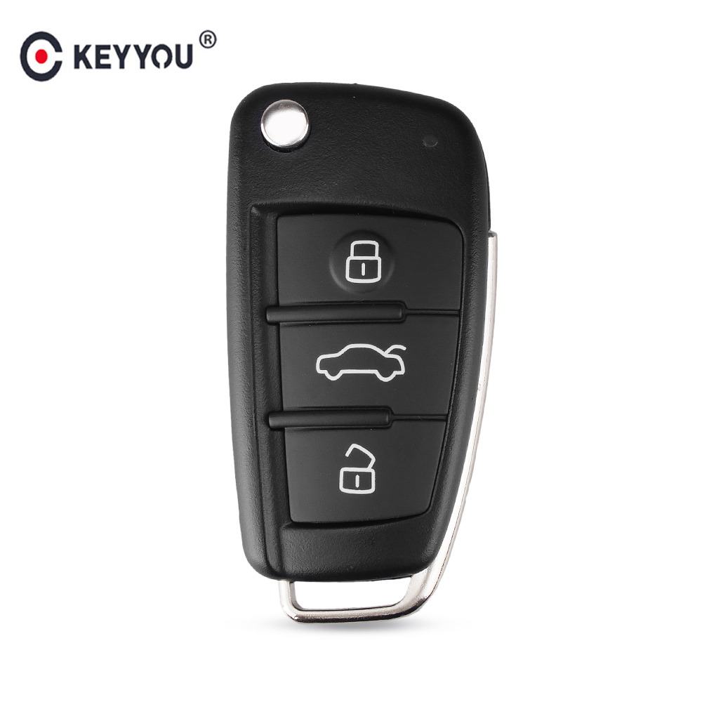 KEYYOU 3 Button Folding Remote Flip Car Key Case Shell Fob For Audi A2 A3 A4 A6 A6L A8 Q7 TT Key Fob Case Replacement(China)