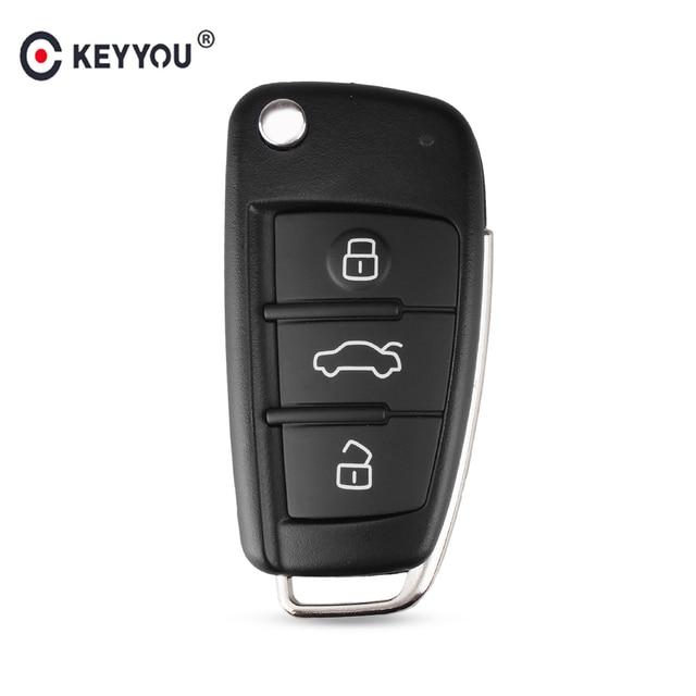 KEYYOU 3 Button Folding Remote Flip Car Key Case Shell Fob For Audi A2 A3 A4 A6 A6L A8 Q7 TT Key Fob Case Replacement