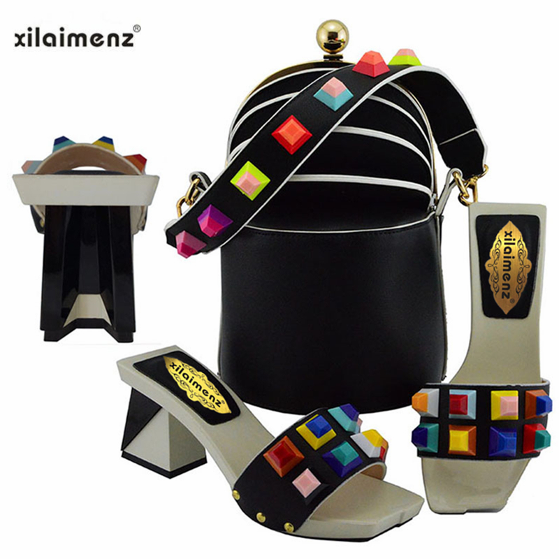 2019 New Design Matching Nigerian Shoe With Matching Bag For Party African Wedding Shoes And Bag
