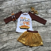 thanksgiving Fall/winter baby girls children clothes I'm just here for the pie Sequins boutique outfits skirts match accessory
