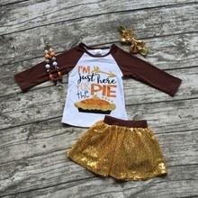 Thanksgiving Automne/hiver bébé filles enfants vêtements Je suis juste ici pour la tarte Paillettes boutique tenues jupes match accessoire