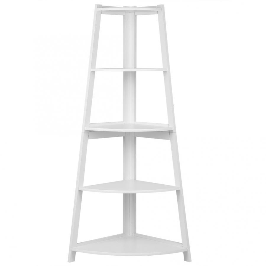 half off e3d04 703a8 US $30.74 38% OFF|White Wooden Modern 5 Tier Corner Ladder Shelf Bookshelf  Storage Organizer Display Rack Stand-in Storage Holders & Racks from Home &  ...