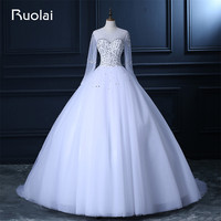 Real Photo Dubai Arabic Wedding Dresses Long Sleeves Crystal Beaded Tulle Ball Gown Wedding Dresses 2017 Vestido de Noiva FW97