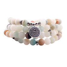 Fashion 2017 Women`s 8 mm AB+Amazonite Bracelet 108 Mala Beads Bracelet or Necklace Lotus Charm Yogi Birthday Gift ab doer ls 108