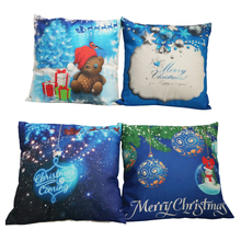 Linen Cushion Cover Merry Christmas Pillowcase cartoon woven Decorative printed cushion case living room bed parlor pillow cover цена