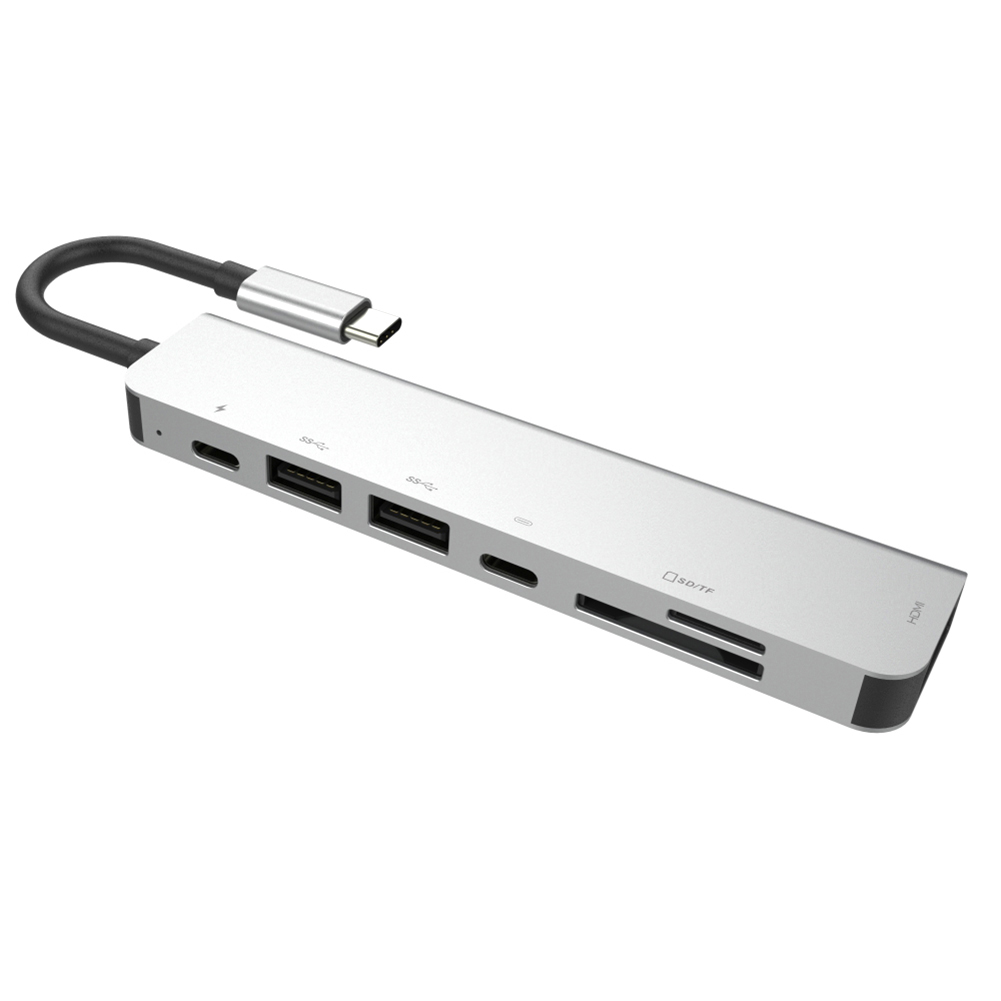 Multi Ports USB C Hub 7-in-1 Type C Hub Adapter With HDMI USB 3.0 Ports SD Micro Card Reader USB-C Power Delivery